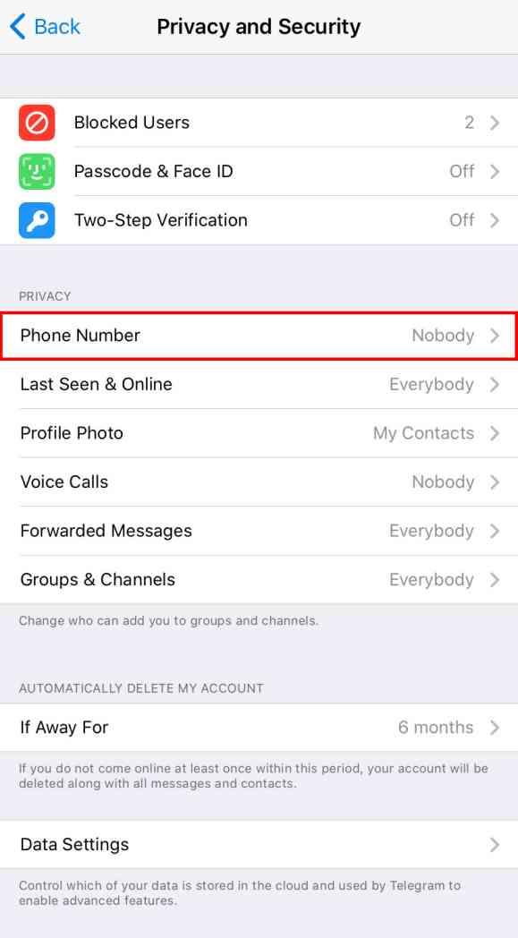 How to hide phone number in Telegram